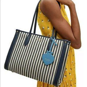 Kate spade market striped blue tote medium bag